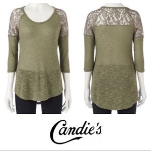 Candie's Army Green 3/4 Sleeve Lace Trim Top XL
